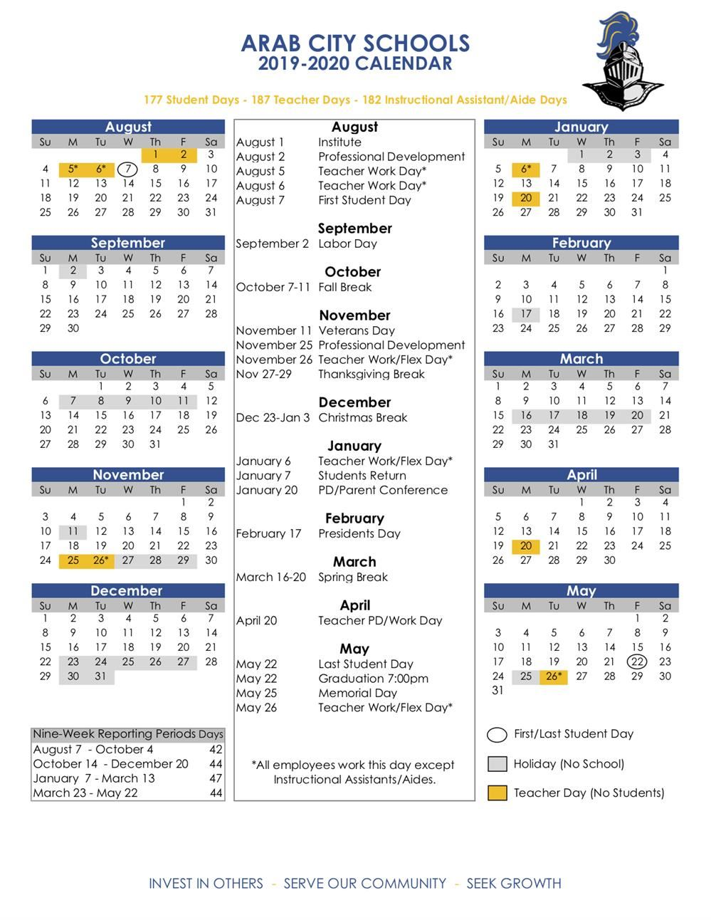 Alabama Calendar 2020 Academic Calendars / 2019 20 ACS Calendar