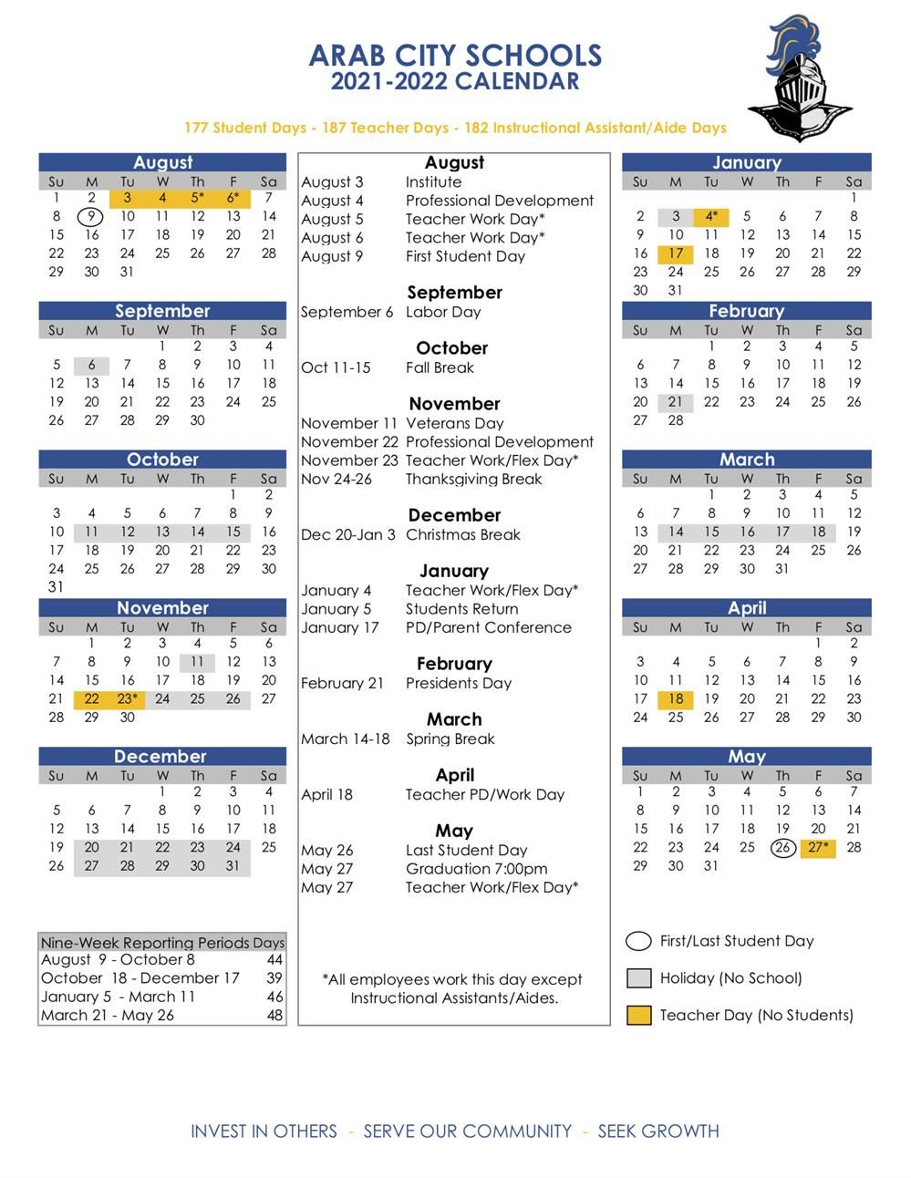 School Calendar 2021-22 Academic Calendars / 2021 22 ACS Calendar